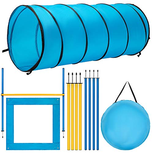 DEStar Dog Agility Equipment Pet Obstacle Training Course Kit with Tunnel Adjustable Hurdles Poles Carry Bag