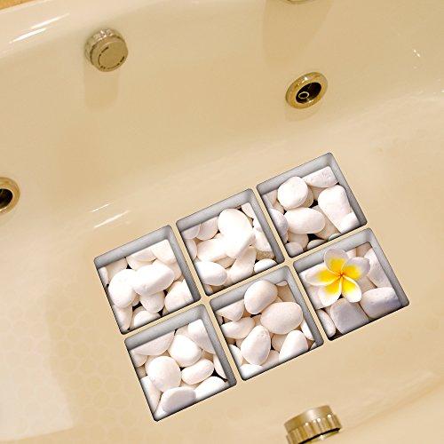 Weare Home Weiß Stein Muster Serie von 6 Stück Deko Design Kreativ Anti Rutsch Sticker für Sicherheit Kinder für Badewanne, je Stück 14.5×14.5cm
