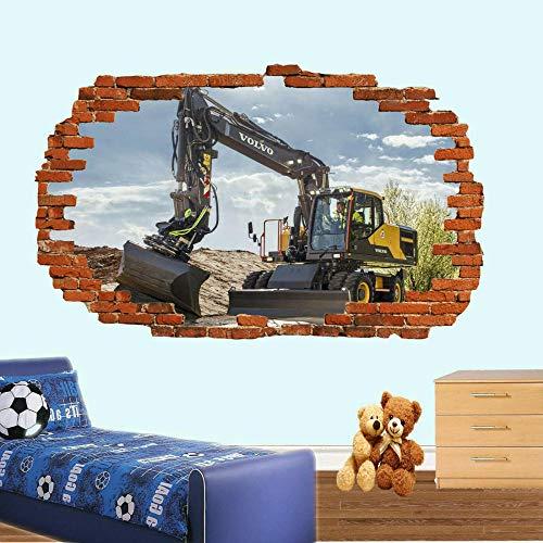 LMMLYR 3D Pegatinas de pared Trabajar con poderosa excavadora Imprimir Extraíble Agujero en la pared Vinilo Decorativo Pegatinas Vista de Efecto Adhesivos De Pared