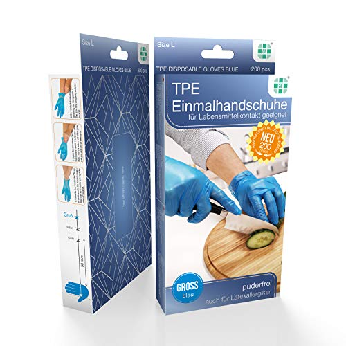 TPE Einmalhandschuhe puderfrei Blau, Größe L, 200 St./Box