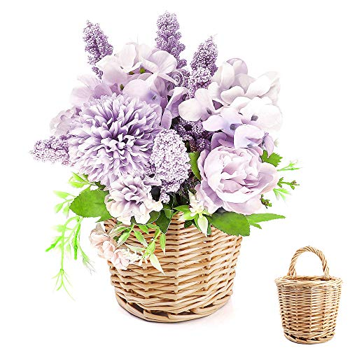 ANZOME Artificial Flowers, Fake Plants Arrangements Faux Peony Silk Hydrangea Realistic Carnation Bouquet Fake Flowers for Wedding Festival Indoor Outdoor Office Room Home Wall Decoration(with Basket)