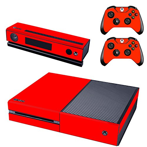 REYTID Console Skin/Sticker + 2 x Controller Decals & Kinect Wrap Compatibel met Microsoft Xbox One - Volledige Set - Rood