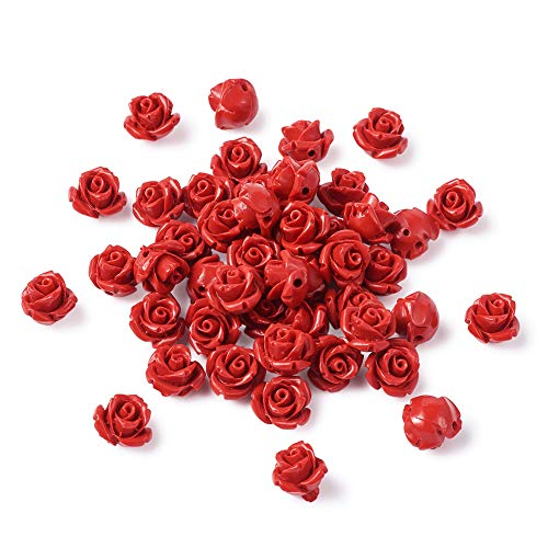 Pandahall 100pcs Red Rose Cinnabar Beads Detailed Carved Loose Prayer Beads for Buddha Mala Jewelry Making Necklace Bracelet Supplies 10mm Hole: 1.5mm