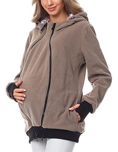 Bellivalini Damen Langarm Fleece Umstandsjacke mit Kapuze BLV50-117 (Dunkelbeige, XL)