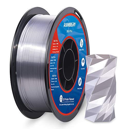 Shiny Silk Silver PLA Filament 1.75mm 3D Printer Filament 1KG (2.2LBS) Printing Materials Silky Shiny Metallic Metal Copper Like PLA 3D Printer Material