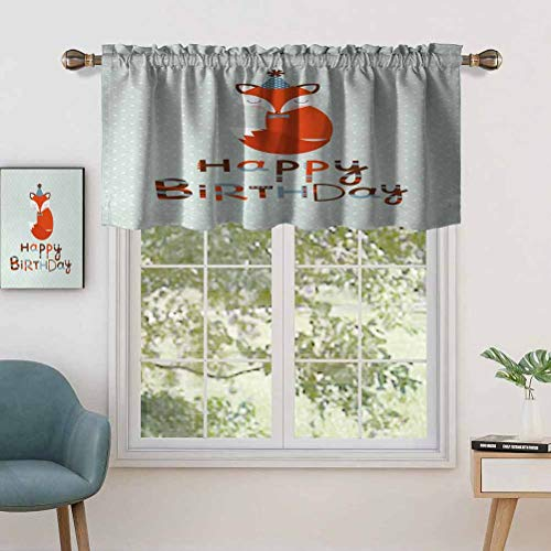 Blackout Curtain Valances Anti-UV Cute Fox Sleeping on Dotted Backdrop with Greeting Happy, Set of 1, 42'x18' for Indoor Dining Room Bedroom