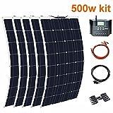 LAMP-XUE Panel Solar 1000W Kit Complet Controlador 50A * 100W Solar Flexible Cargador de batería de 10 Piezas para el Sistema casero azotea del Coche Caravana Barco y RV,500w
