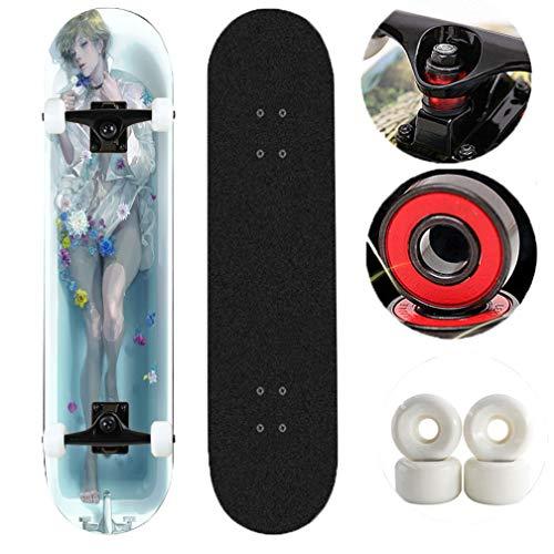 Tortoiseshell Skateboards komplette Cruise, Pro Skate-Brett for Jungen Kids Teens Erwachsene Anfänger -Girl in der Badewanne