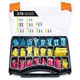 Wirefy 270 PCS Heat Shrink Wire Connectors - Marine Grade Electrical Connectors Kit - Automotive Crimp Terminals - Insulated Ring Spade Fork Hook Butt Splices - 22-10 Gauge