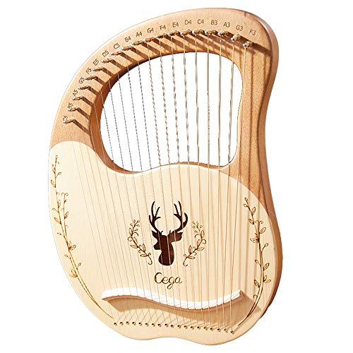 Yaochen Harpa de lira, corda de metal de madeira maciça de mogno para adulto/crianças, instrumento musical com palheta de chave de afinação, bolsa de apresentação preta e tutorial de música para amantes de instrumentos iniciantes
