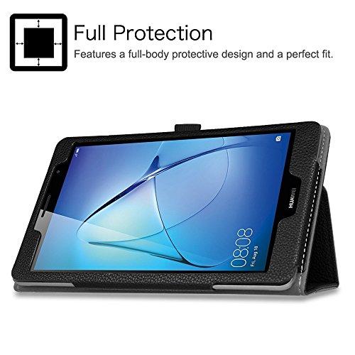 Fintie Huawei Mediapad T3 8 Hülle Case - Ultra Schlank Kunstleder Folio Schutzhülle Etui Tasche Case Cover mit Standfunktion für Huawei MediaPad T3 8 20,3 cm (8,0 Zoll) Tablet-PC, Schwarz - 2