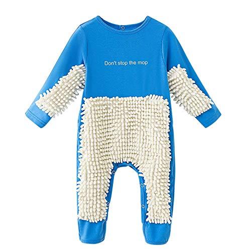N/AA Amuse-MIUMIU Baby Langarm Mop Strampler Outfit Baby Kleidung Reinigungsmop Overall Strampler Jumpsuit Kinder Spielanzug zum Krabbeln Junge Mädchen 0-24 Monate