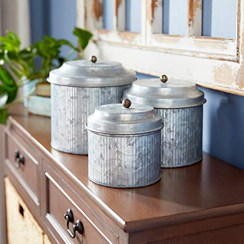 """Galvanized Silver Metal Canisters, Set of 3: 5"""", 6"""", 7"""""""