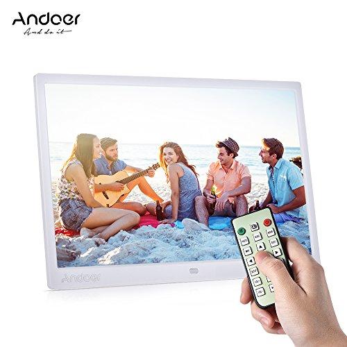 Andoer 15 zoll TFT LED Digitaler Bilderrahmen mit MP4/MP3/e-book/Uhr/Kalender/High-Definition 1280x800 Pixel-Display mit Touch-Taste/Infrarot-Fernbedienung/Unterstüzt 14 Sprachen mit Halter