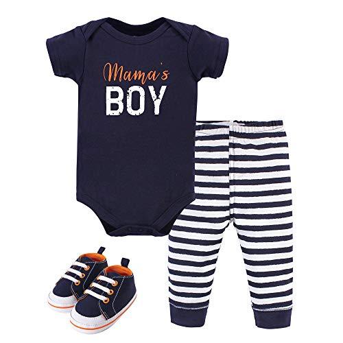 Little Treasure Unisex Baby Cotton Bodysuit, Pant and Shoe Set, Mamas Boy, 6-9 Months