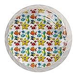 Pack de 4 pomos redondos de cristal para cajón, 30 mm, con asas de cristal, diseño de estrellas de mar y pescado