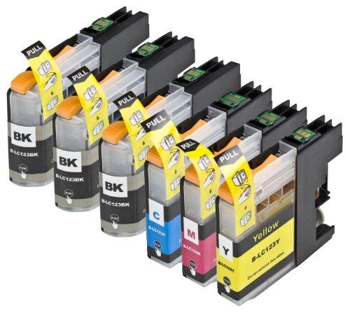 6 Multipack de alta capacidad Brother LC123 Cartuchos Compatibles 3 negro, 1 ciano, 1 magenta, 1 amarillo para Brother DCP-J132W, DCP-J152W, DCP-J172W, DCP-J552DW, DCP-J752DW, DCP-J4110DW, MFC-J245, MFC-J470DW, MFC-J650DW, MFC-J870DW, MFC-J2310, MFC-J2510, MFC-J4410DW, MFC-J4510DW, MFC-J4610DW, MFC-J4710DW, MFC-J6520DW, MFC-J6720DW, MFC-J6920DW. Cartucho de tinta . LC123BK , LC123C , LC123M , LC123Y © 123 Cartucho