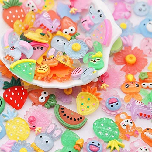 Slime Charms Cute Set - Charms for Slime Assorted Fruits Candy Sweets Flatback Resin Cabochons for Craft Making, Ornament Scrapbooking DIY Crafts (Candy)