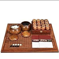 囲碁、中国のチェスセット、大人の初心者無垢材両面チェス盤(知的思考演習)
