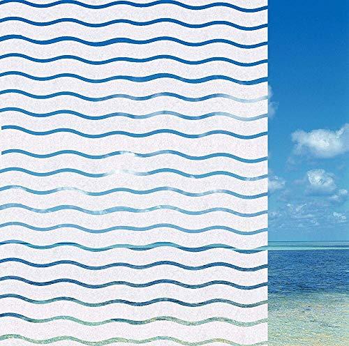 LMKJ Decoración de Olas de mar película de Vidrio para Ventana esmerilada película de Vidrio sin Pegamento Autoadhesivo Impermeable Pegatina de Ventana de privacidad para Sala de Estar A69 50x200cm