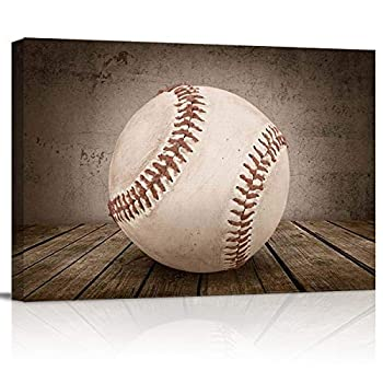 Canvas Print Wall Art - Rustic Baseball on Vintage Wooden Board - Wall Decor Modern Artwork Paintings Pictures for Living Room Stretched and Framed Ready to Hang - 12  x 16