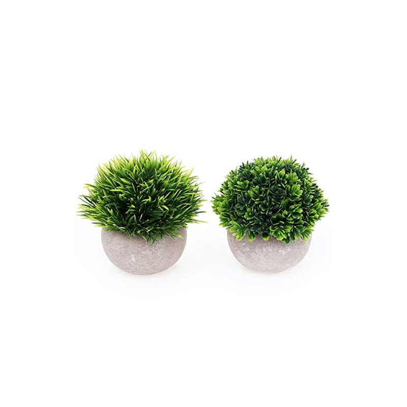 silk flower arrangements 2 packs small fake plants artificial mini potted plants artificial plants for home decor indoor faux plants in pots centerpiece topiary shrubs for bathroom decoration, green
