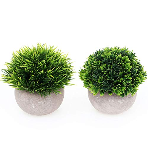 UltraOutlet 2 Pack Small Artificial Plants Centerpiece in Pot Fake Mini Decorative Potted Topiary Shrubs for Office, Home, Inddor, Room Decoration, Green