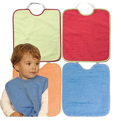 Ti-Tín, Lot de 4 bavoirs imperméables pour bébés 90% coton - 10% polyester | Doublure en plastique | Lot de 4 bavoirs pour bébés de 12 mois | 32x36cm