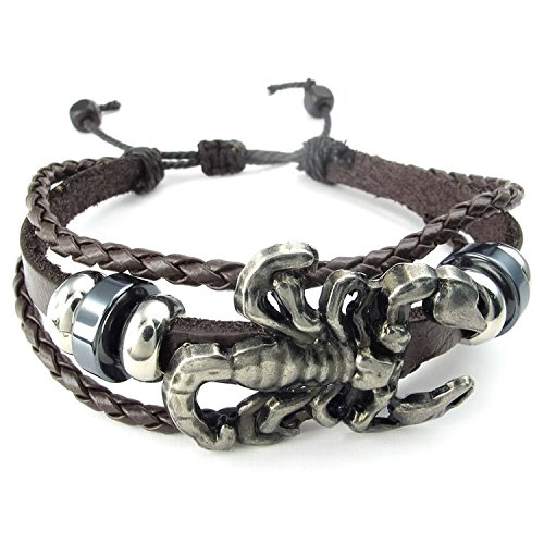 mendino Herren Scorpion geflochten Pirat Skull Totenkopf Charm Leder Kordel Armband (braun) mit 1x Samtbeutel