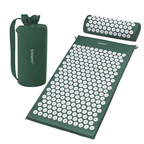 Risefit Acupressure Mat and Pillow Set  Acupuncture Massager for Therapy Back Neck Pain Relief Sciatic Pain Free Carry Bag