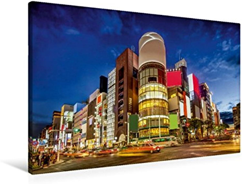 Calvendo Premium Textil-Leinwand 90 cm x 60 cm quer, Straenkreuzung in Tokyo Ginza   Wandbild, Bild auf Keilrahmen, Fertigbild auf echter Leinwand, Leinwanddruck Orte Orte