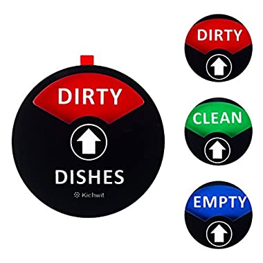 "Kichwit Clean Dirty Dishwasher Magnet with the 3rd Option ""EMPTY"", Non-Scratch Strong Magnet Backing & Residue Free Adhesive, 3.5"" Diameter, Black"