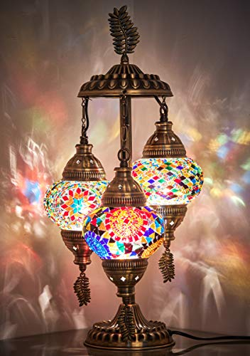 DEMMEX 2019 Stunning 3 Globe Turkish Moroccan Bohemian Table Desk Bedside Night Lamp Light Lampshade with UK Plug & Sockets, 19 Inches (Gift Me!)