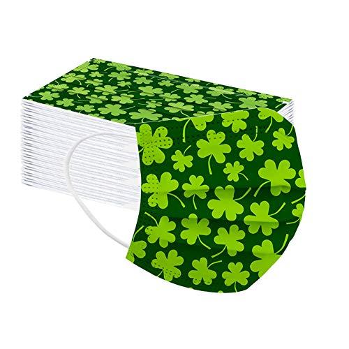 ST Patricks Disposable Face Mask for Adults Green Shamrock Mask Coronɑvịrus Protectịon Holiday Saint Breathable 3ply (50 Pcs F)