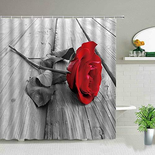 XCBN Cortina de Ducha Floral con Paisaje 3D, Moderna y Elegante, Rosa, Girasol, Cactus, Planta de Flores, baño, Cortina de Ducha A22 150x200cm
