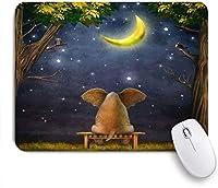 EILANNAマウスパッド 月の夜を楽しんでいる象面白い動物アフリカ象背中の下の体が星空を見るユーモア自然の風景 ゲーミング オフィス最適 高級感 おしゃれ 防水 耐久性が良い 滑り止めゴム底 ゲーミングなど適用 用ノートブックコンピュータマウスマット