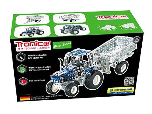 TRONICO Metallbaukasten Traktor Anhänger New Holland Konstruktionsspielzeug - Mint - STEM - Modellbau - Bauen mit Werkzeug