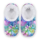 linomo Zapatillas de estar por casa unisex con diseño de flamenco, hojas y flores, para invierno, cálidas, para interior y exterior, para dormitorio, calcetines, color Multicolor, talla 40/42 EU