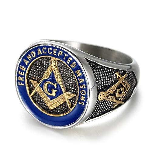 IFUAQZ Men's Stainless Steel Masonic Freemason Rings Gold Blue Free and Accepted Masons Symbol Signet Band Size 9