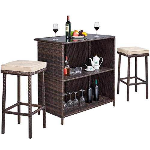 YAHEETECH 3pcs Patio Bar Set with Rattan Wicker, Outdoor Conversation Set Patio Furniture with 2 Cushions Stools & Glass Top Table
