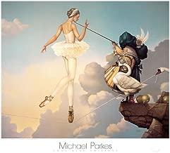 Leda's Daughter Michael Parkes Ballet Fantasy Mystical Print Poster, Overall Size: 31.5x27.5, Image Size: 27.75x23