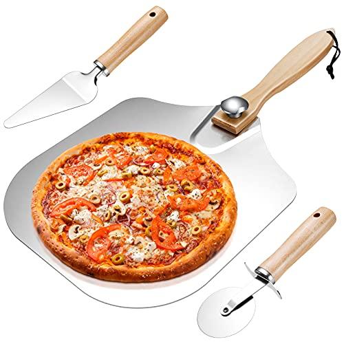 Homealexa Pala Pizza, Set de Pala de Pizza, Juego de Cáscaras de Pizza 3 en 1, Cortador de Pizza con Mango de Madera, para Hornear Pizza, Pan, Galletas, Pasteles.