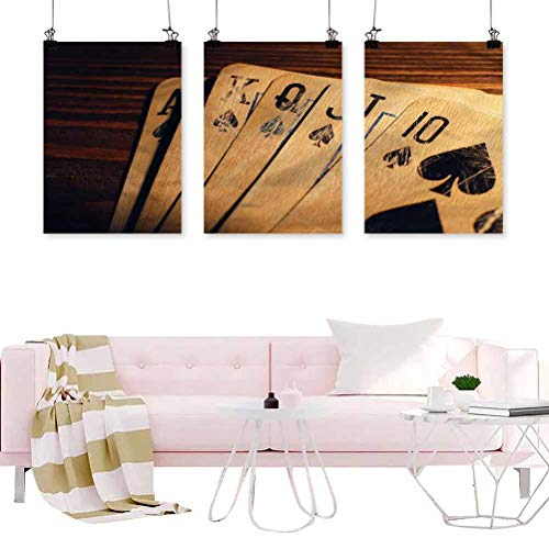 ScottDecor Poker Tournament Canvas Wall Art Cards on a Table 24x36inch/piece Hanging Wall Decoration Abstract Painting