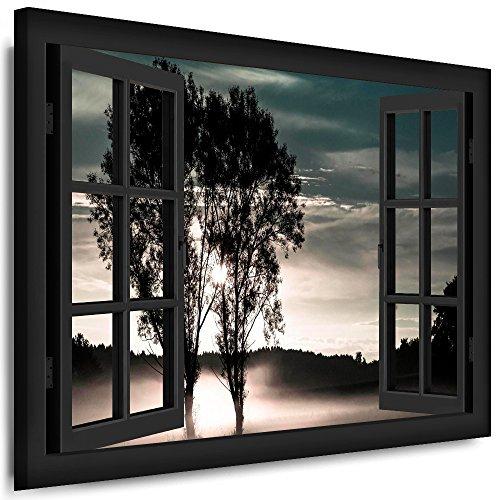 BOIKAL XXL29-20 Fensterblick Leinwand bild 3D Illusion - Fertig Gerahmte Bilder kein Poster - Wandbild 120 x 100 cm Grau - Farbe Große 21 Variante wählbar - Fenster Kunstdruck Landschaft Baum im Nebel, Wald