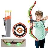 YDLYA Juego de Tiro con Arco para niños Que Incluye Tablero, Soporte de Flecha, Ventosa, Flechas y Luces LED, Arco para niños, Juego Interior al Aire Libre