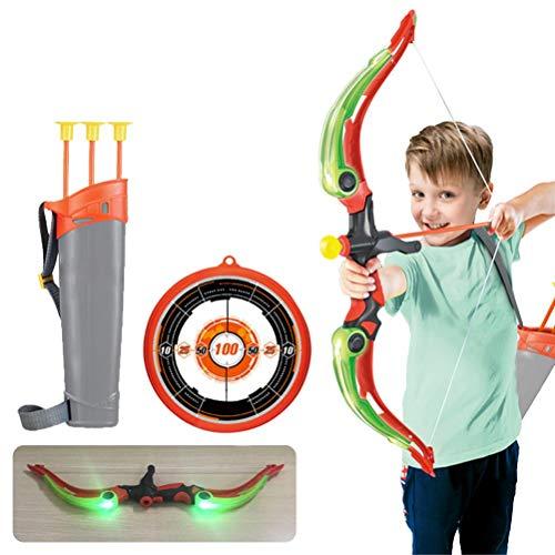 GDZTBS Juego de Arco y Flecha para Niños, Incluido el Tablero, Soporte de Flecha, Ventosa, Flechas y Luces LED, Arco para Niños, Juego de Interior al Aire Libre