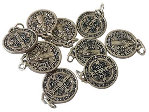 Eurofusioni San Benito Medalla Plata chapeada - Diámetro 1,5 cm - 10 medallas
