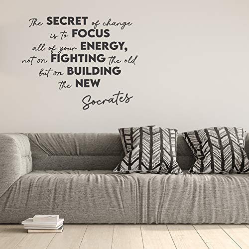 Viiry Wall Sticker Motivational Waterproof Large Bedroom Inspiring Saying Meaningful Wall Stickers Decoration for Chicken Gray 47 x 39 inches
