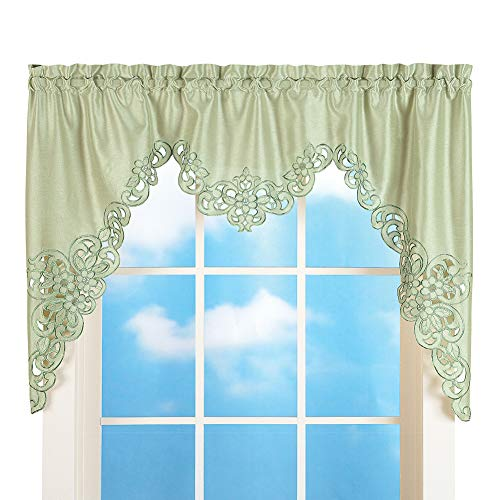 """Collections Etc Elegant Scalloped Design Cut-Out and Embroidered Scroll Window Valance with Rod Pocket Top for Easy Hanging, Sage Green, 58"""" X 36"""""""