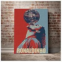ロナウジーニョ写真ポートレート写真壁アートポスターキャンバスに印刷絵画リビングルームの装飾50x70cmフレームなし